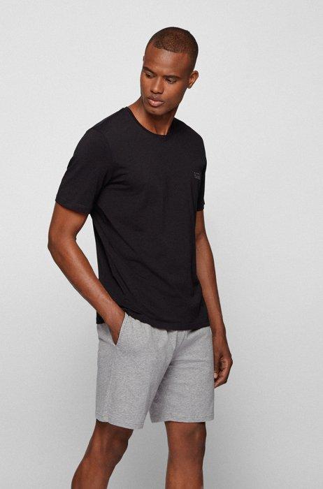 Stretch-cotton loungewear T-shirt with logo, Black
