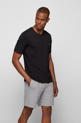 Stretch-cotton loungewear T-shirt with logo, Black