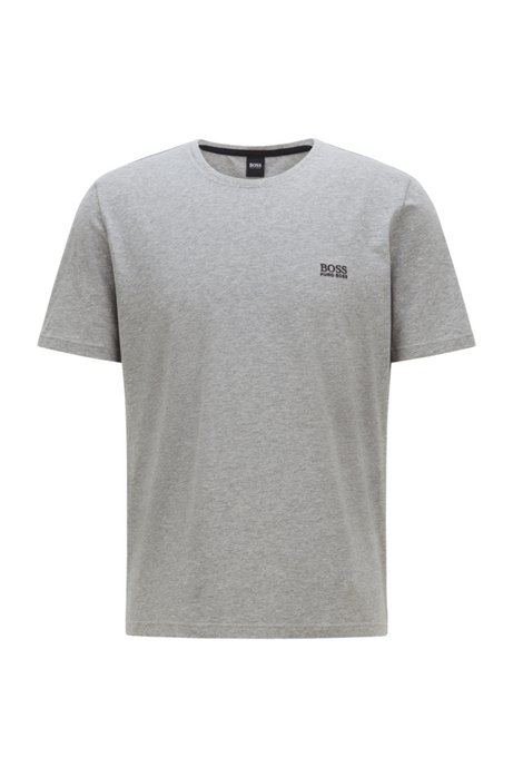 Loungewear T-shirt in stretch cotton with embroidered logo, Grey