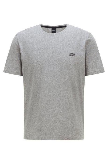 Loungewear-Shirt aus Stretch-Baumwolle mit Logo-Stickerei, Grau