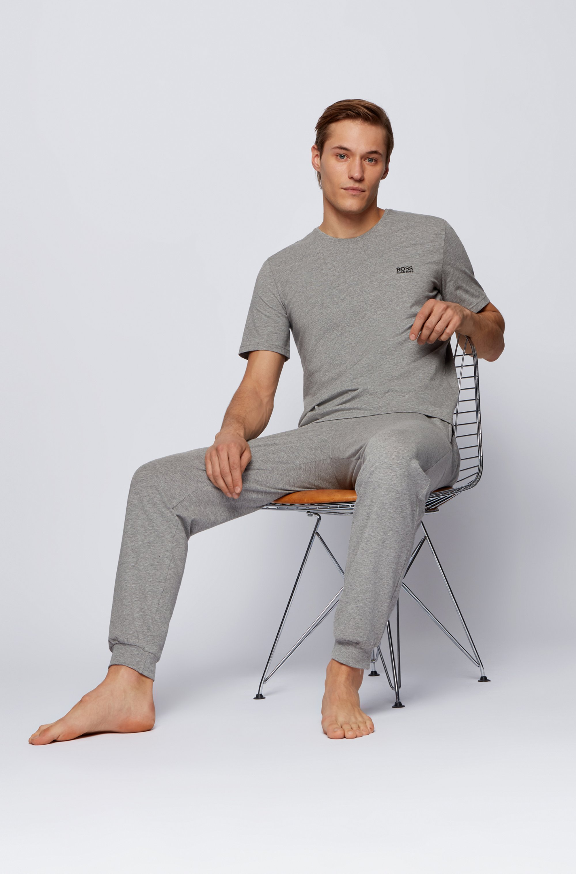 Stretch-cotton loungewear T-shirt with logo