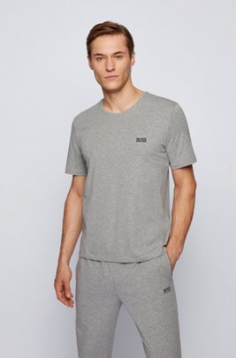 Stretch-cotton loungewear T-shirt with logo, Grey