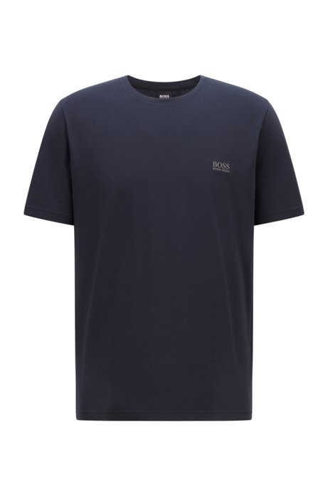 Stretch-cotton loungewear T-shirt with logo, Dark Blue