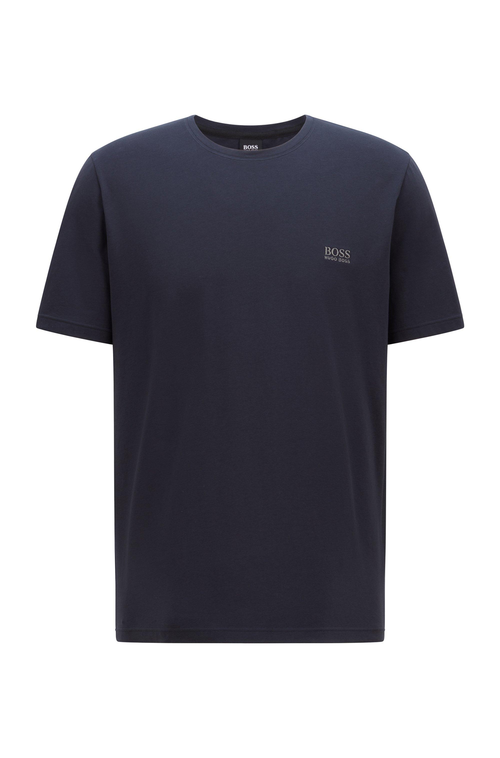 Loungewear-T-Shirt aus Stretch-Baumwolle mit Logo, Dunkelblau