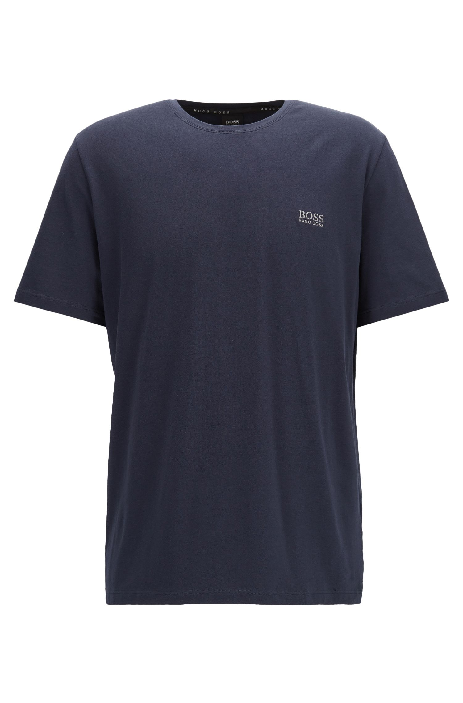 Regular-fit loungewear T-shirt in stretch cotton, Dark Blue