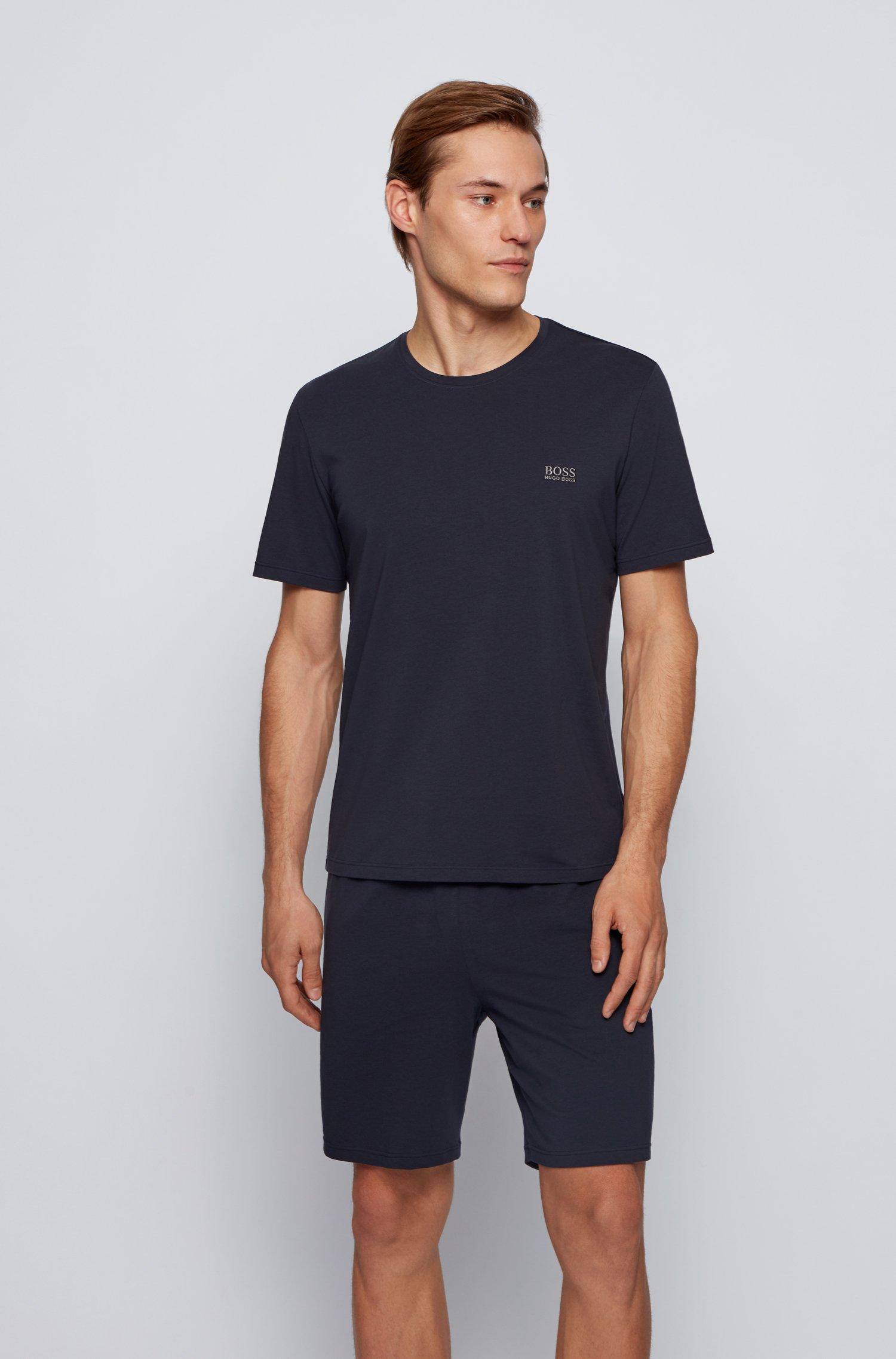 Stretch-cotton loungewear T-shirt with logo, Dark Blue