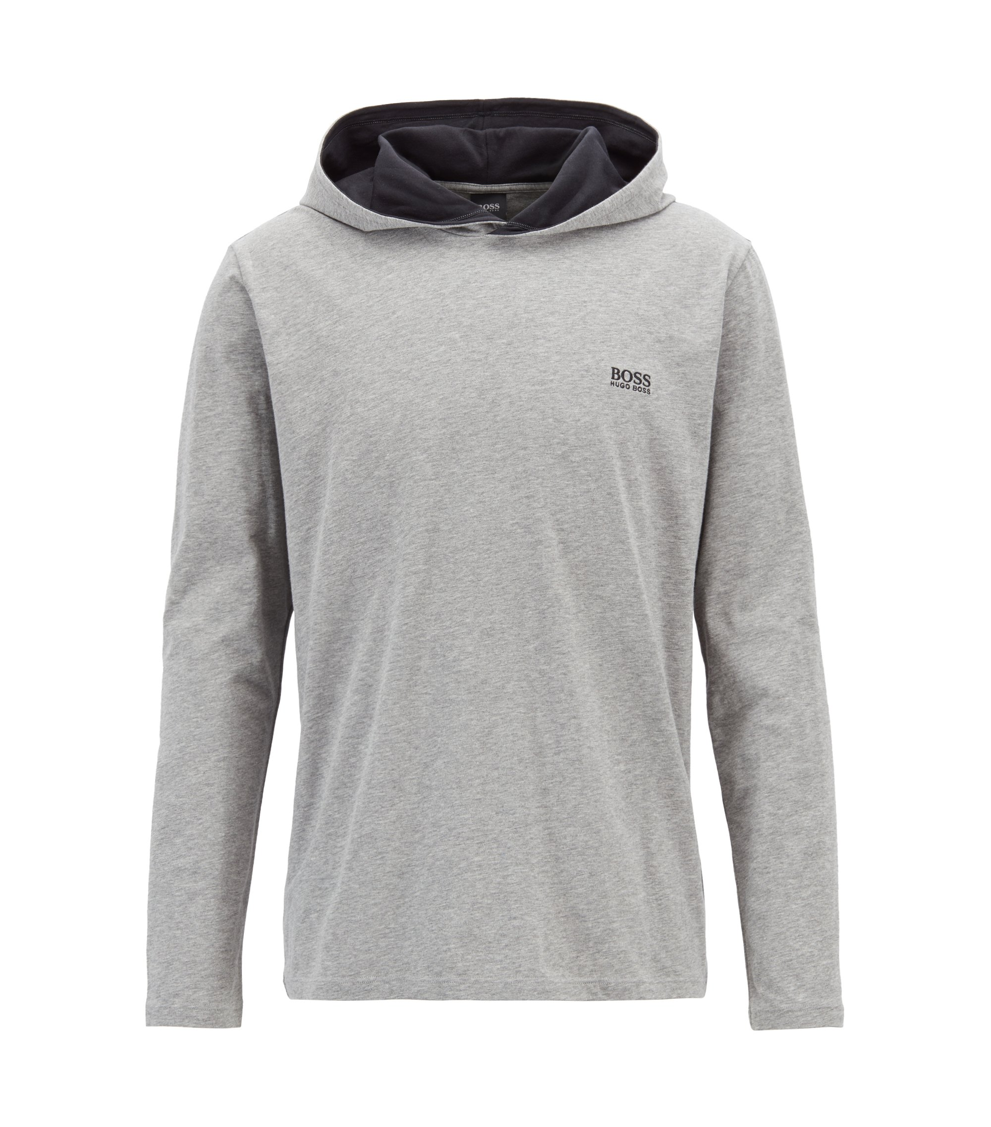Hooded loungewear top in stretch cotton, Grey