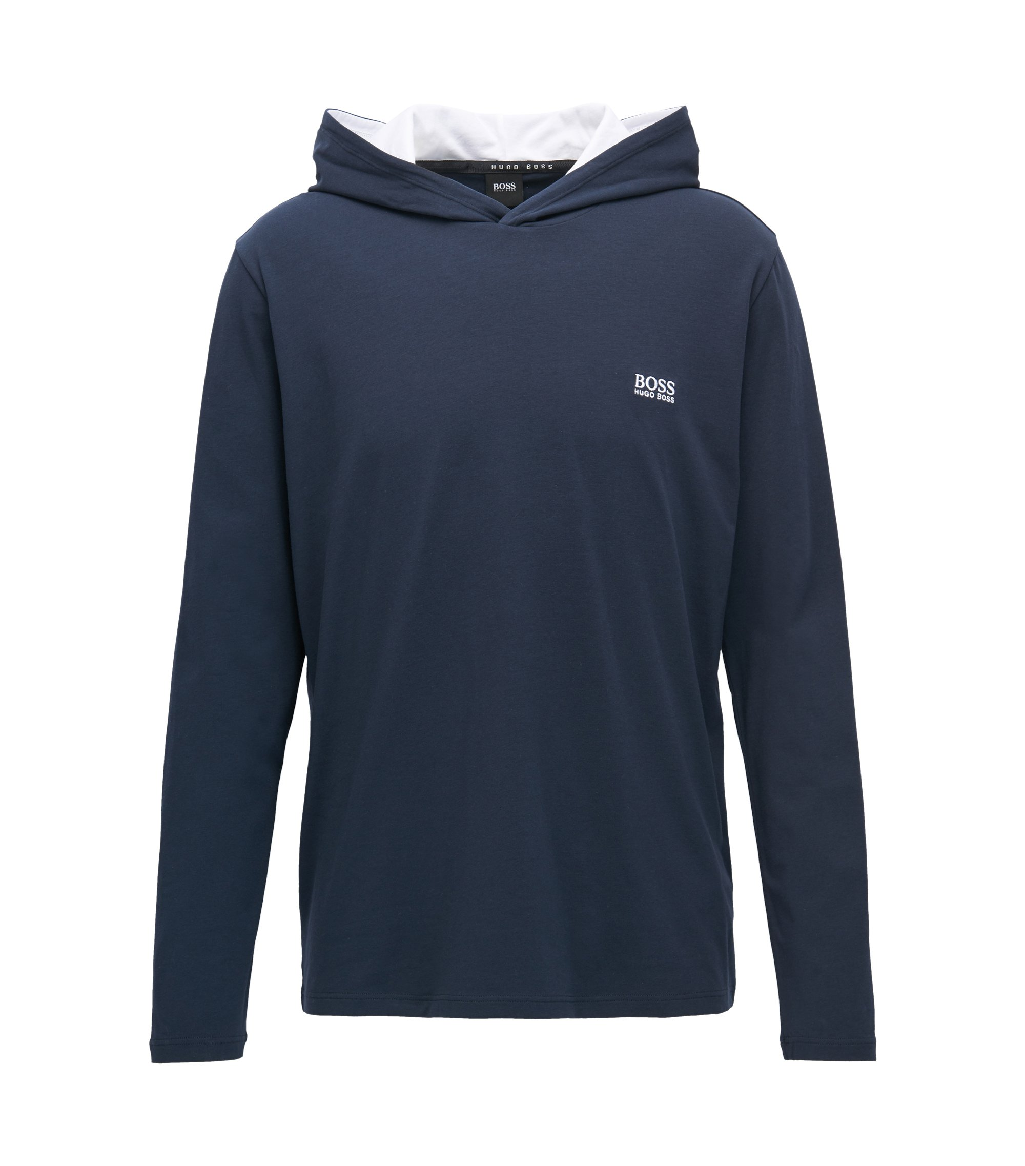 Hooded loungewear top in stretch cotton, Dark Blue