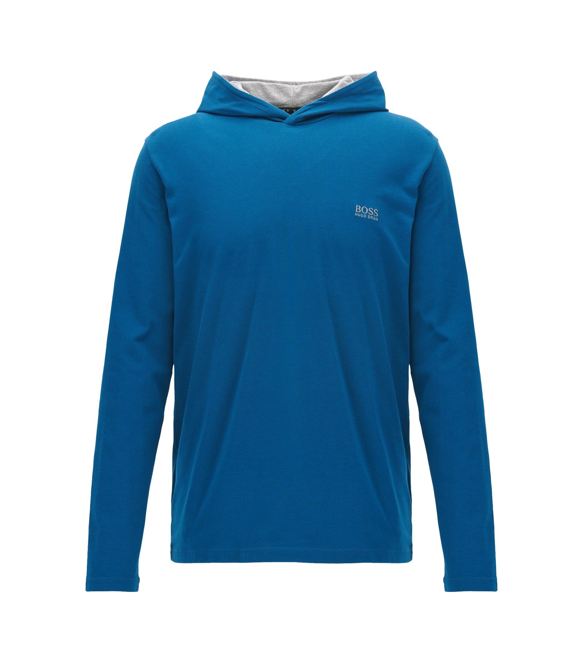 Regular-Fit Kapuzenpullover aus elastischer Baumwolle, Blau