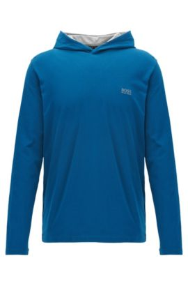 Hooded loungewear top in stretch cotton, Blue