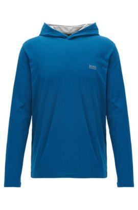 Haut d'intérieur à capuche en coton stretch, Bleu