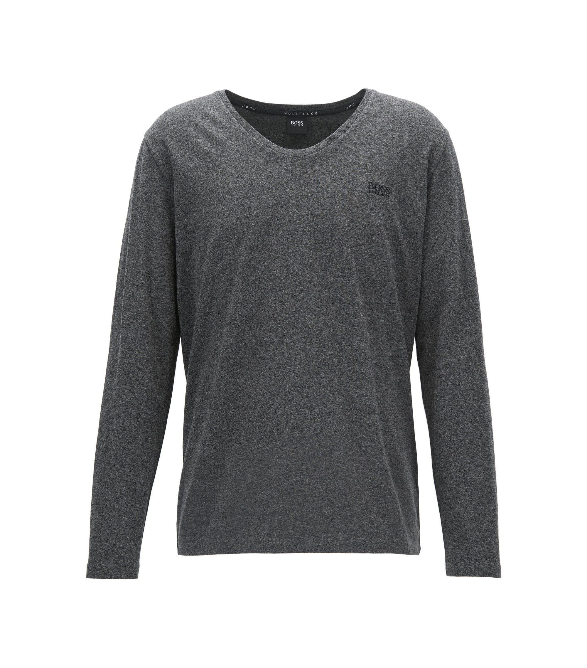 Camiseta loungewear regular fit en algodón elástico, Gris marengo