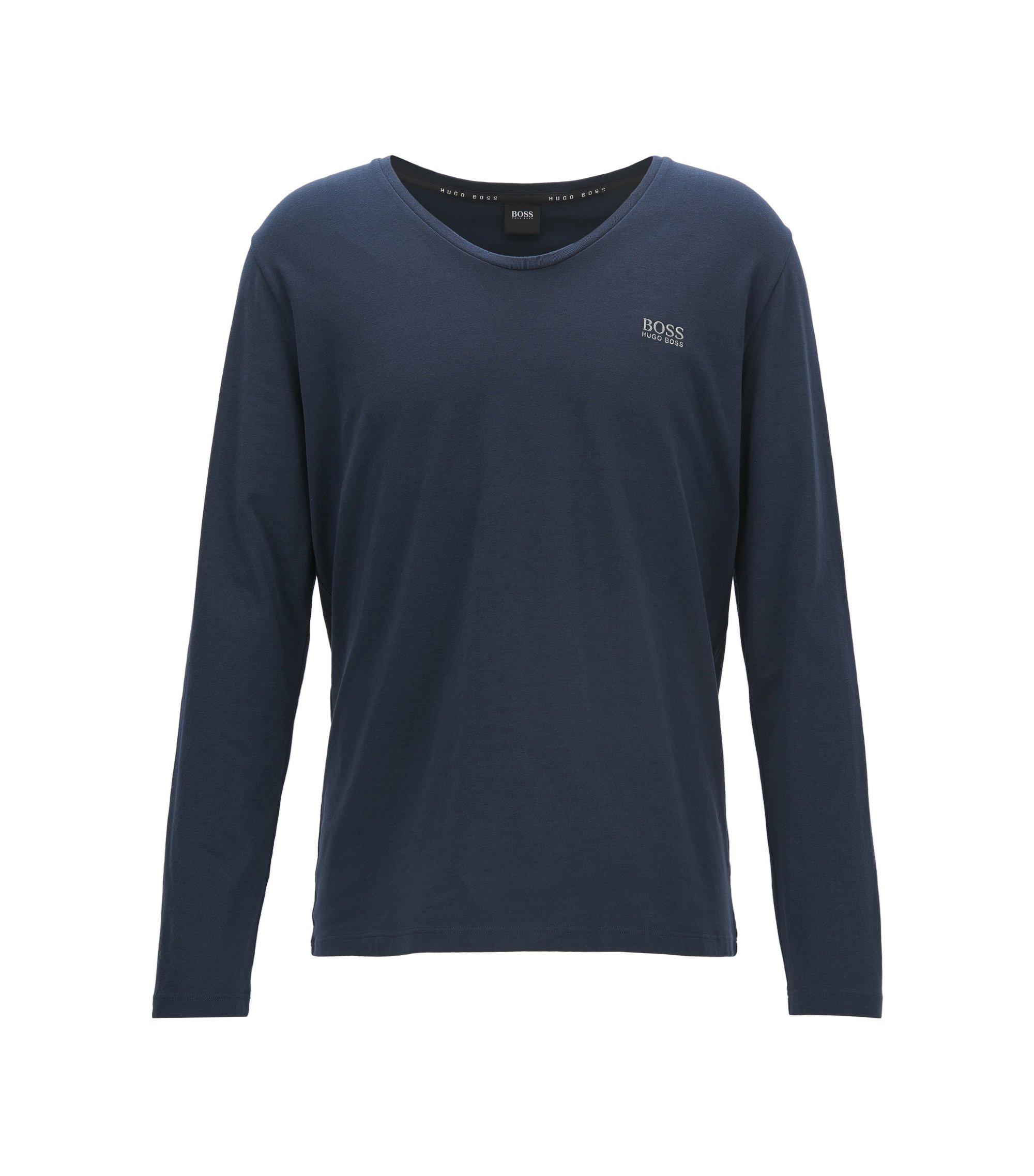 T-shirt regular fit per il tempo libero in cotone elasticizzato, Blu scuro