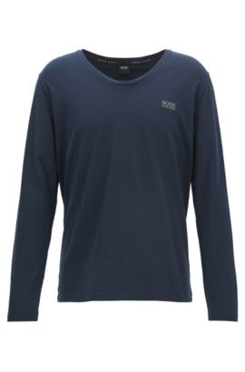 Regular-fit lounge-T-shirt van stretchkatoen, Donkerblauw