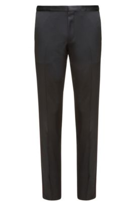 Extra-slim-fit virgin wool trousers, Black