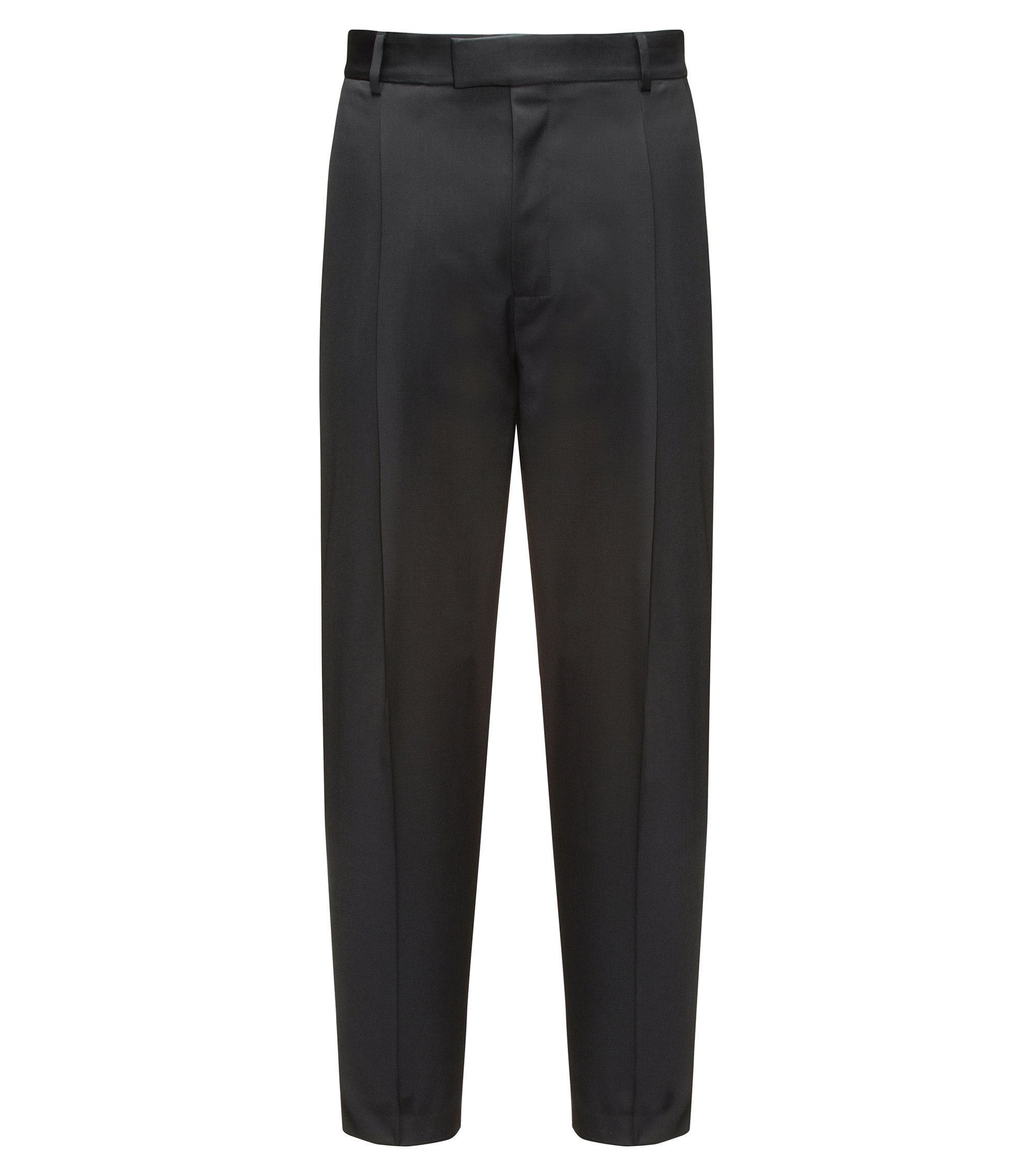 Pantaloni relaxed fit in lana vergine, Nero