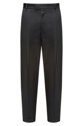 Relaxed-fit broek van scheerwol, Zwart