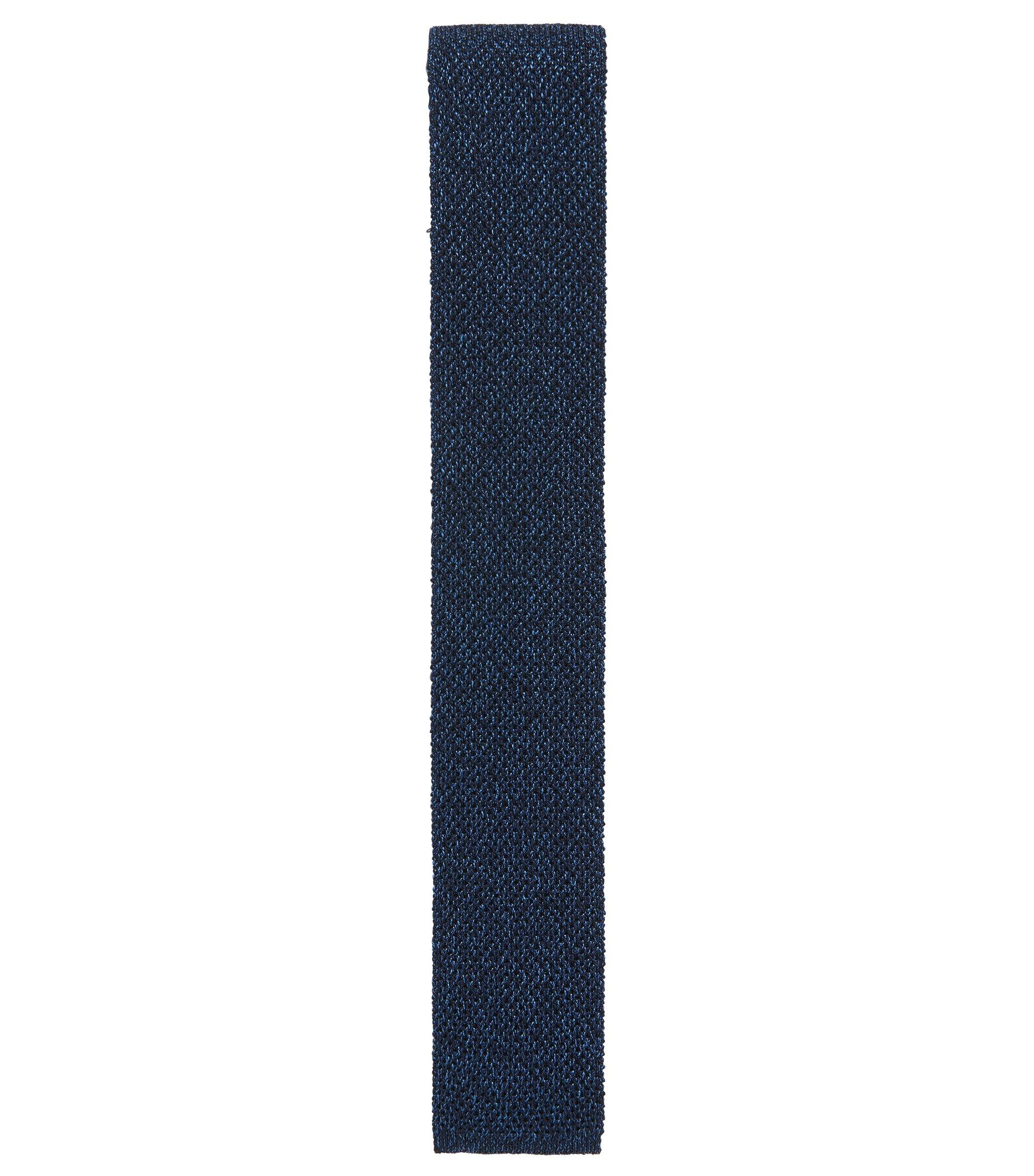Cravatta in maglia reversibile in misto lana, Blu scuro