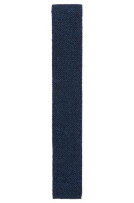 Corbata de punto reversible en mezcla de lana, Azul oscuro