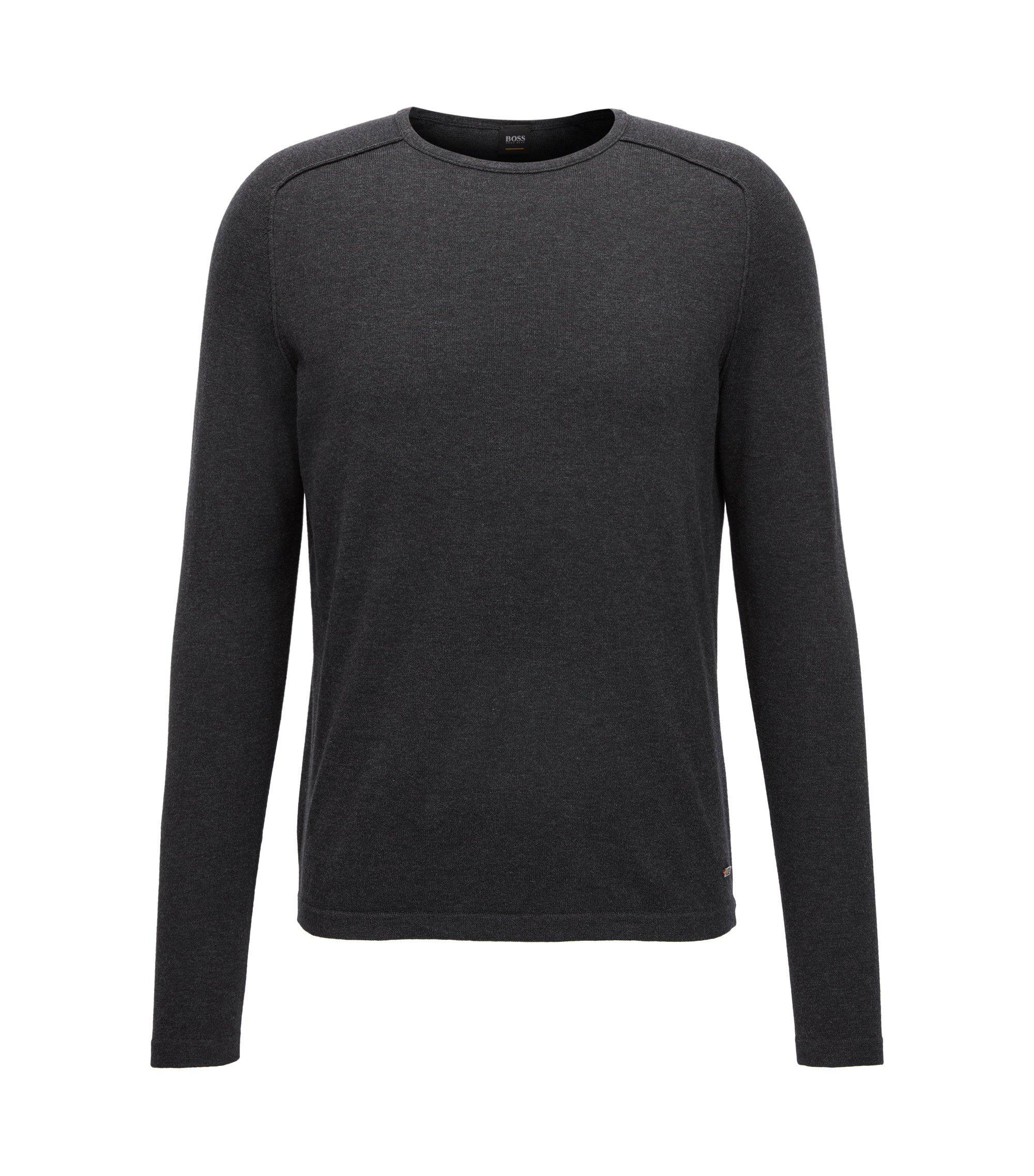 Pullover aus gestrickter Baumwolle mit Paspel-Details, Schwarz