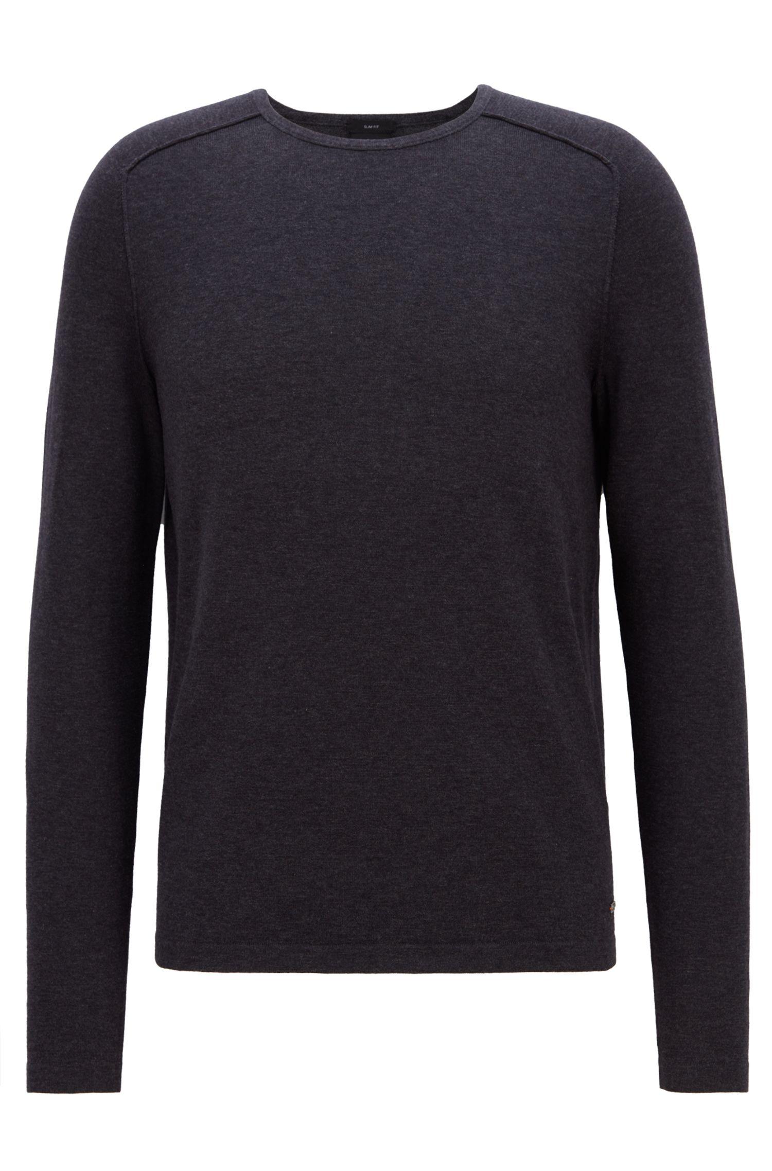 Pullover aus gestrickter Baumwolle mit Paspel-Details, Dunkelgrau