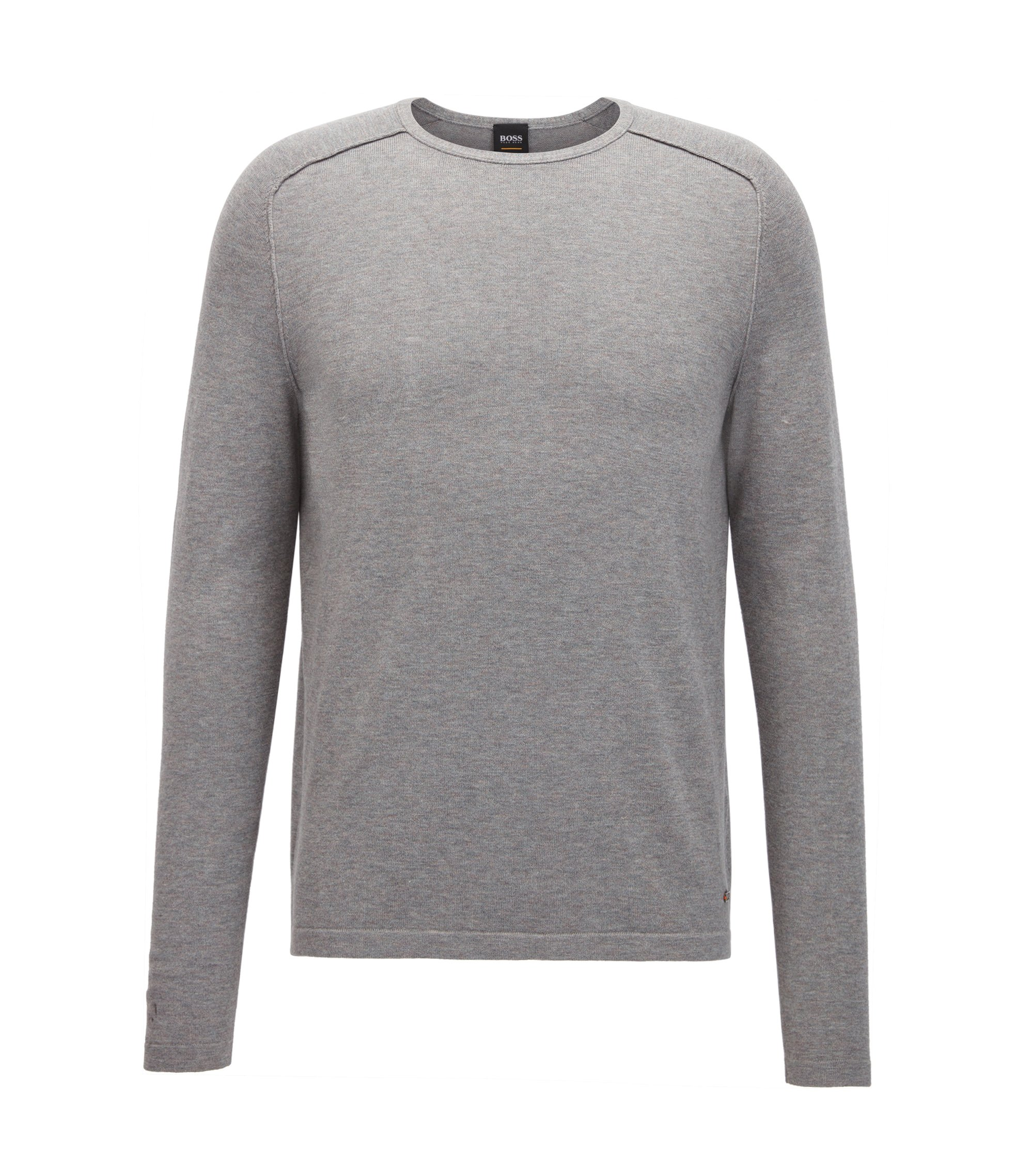 Pullover aus gestrickter Baumwolle mit Paspel-Details, Hellgrau