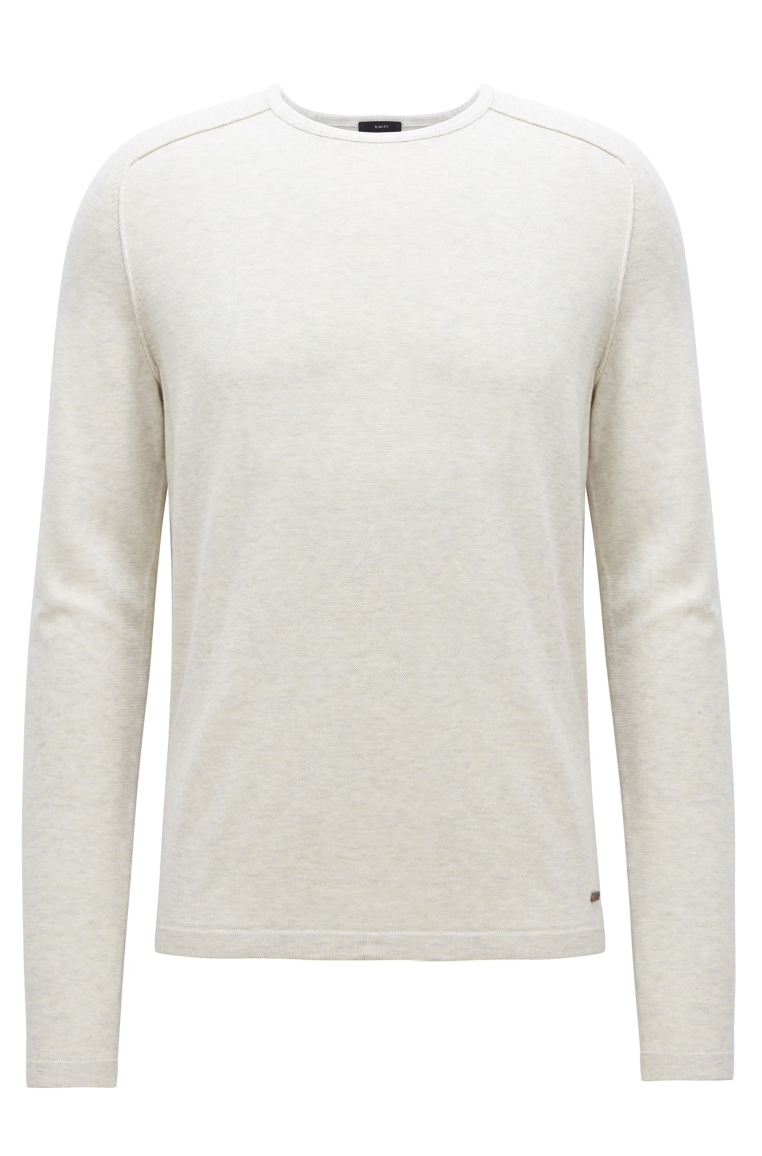 Pullover aus gestrickter Baumwolle mit Paspel-Details, Hellbeige