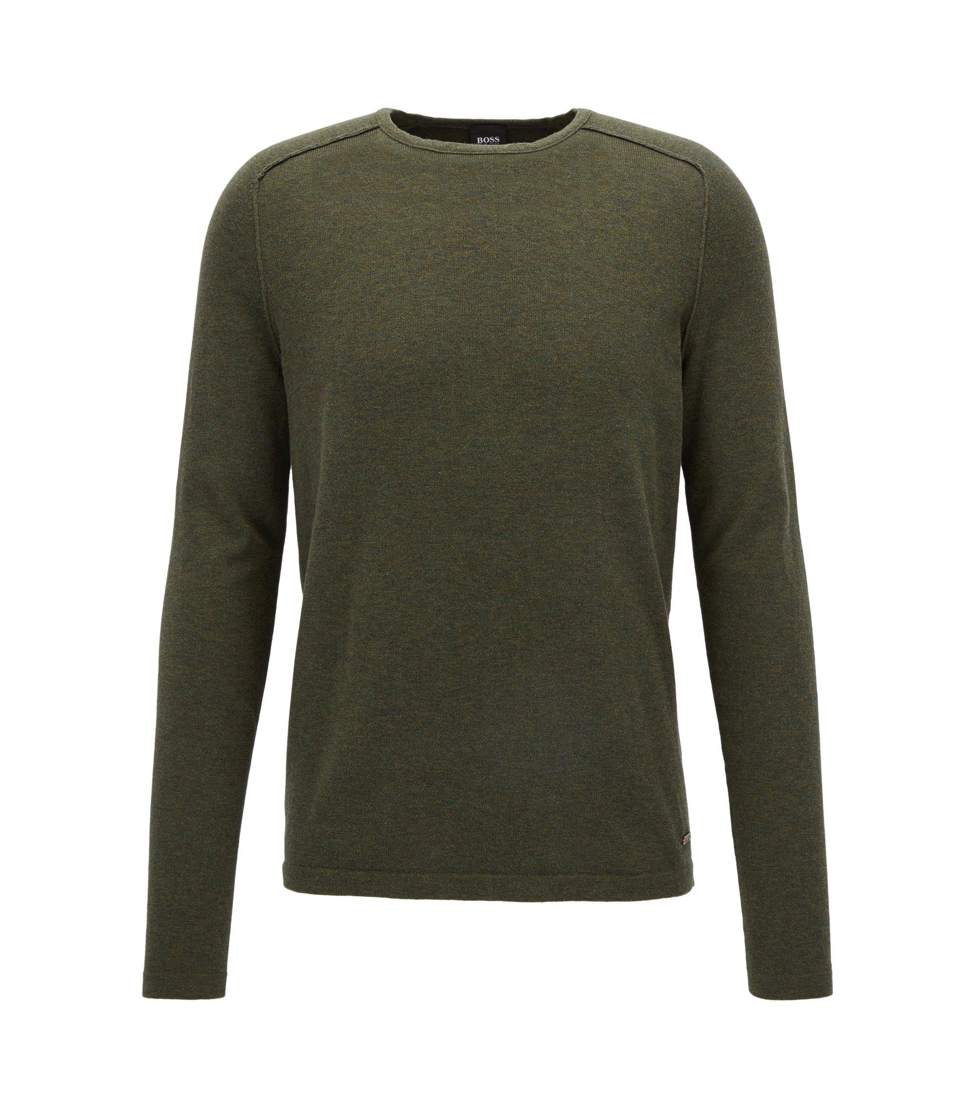 Pullover aus gestrickter Baumwolle mit Paspel-Details, Dunkelgrün