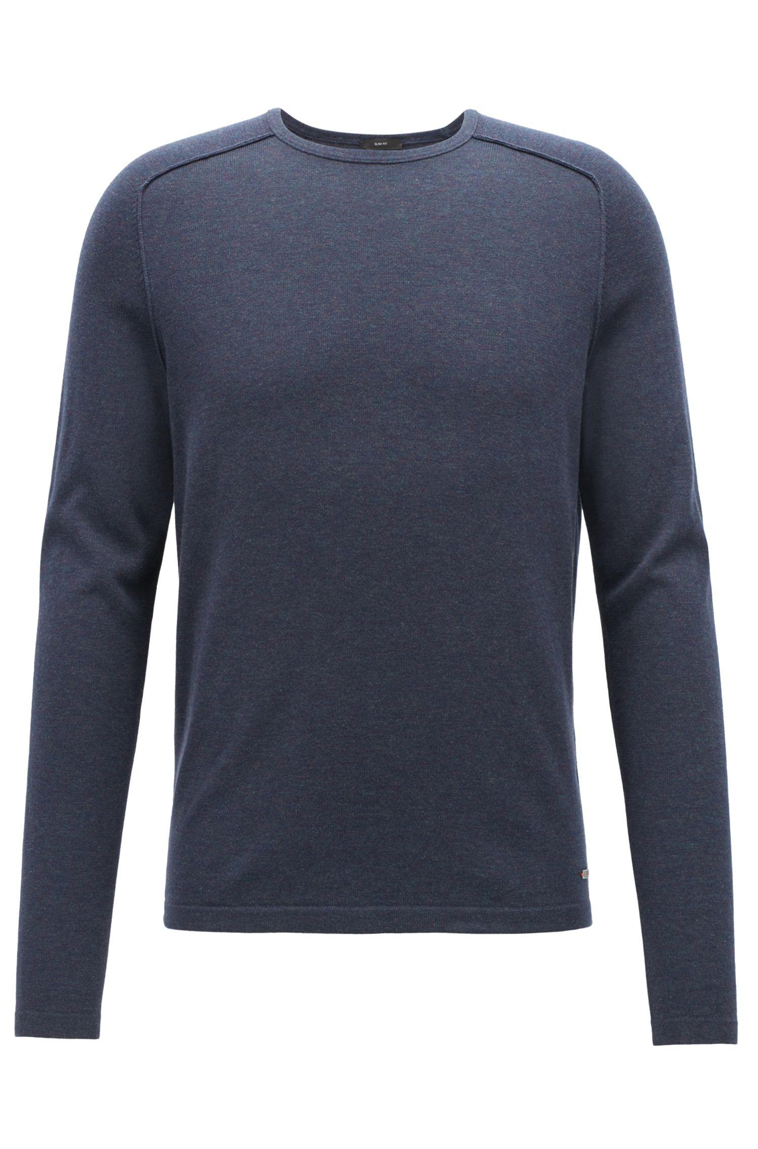 Pullover aus gestrickter Baumwolle mit Paspel-Details, Dunkelblau