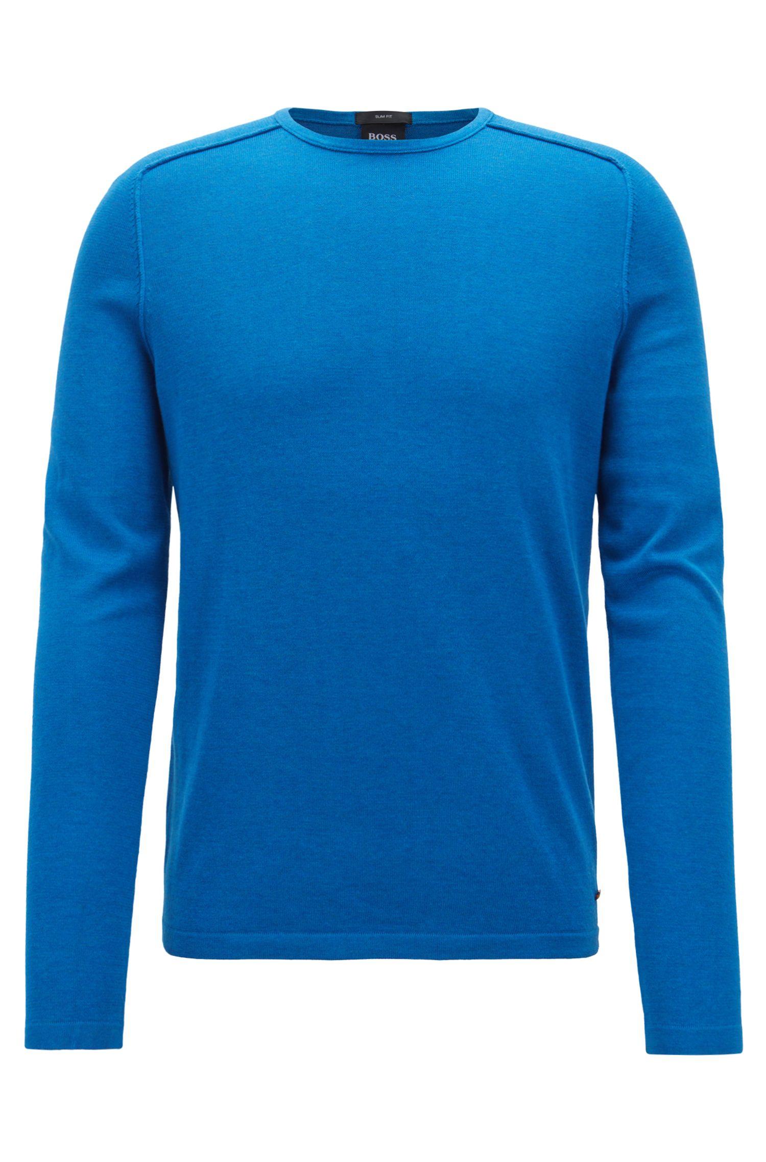Pullover aus gestrickter Baumwolle mit Paspel-Details, Blau