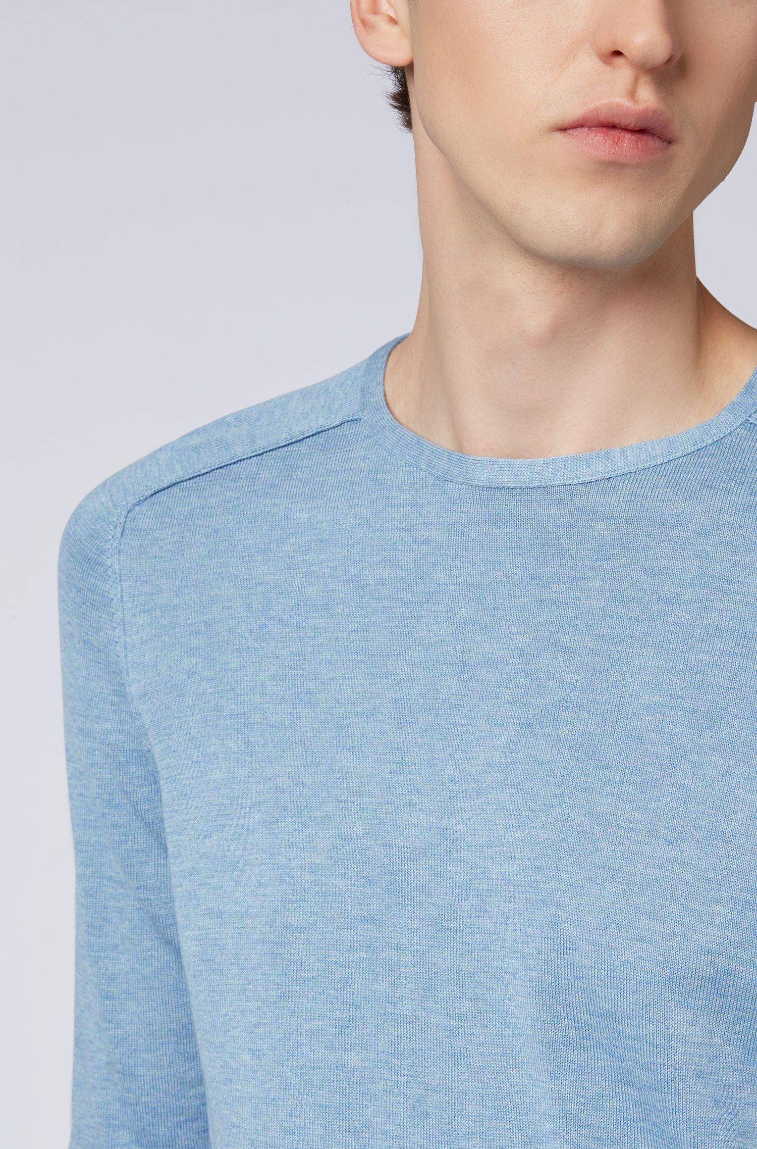 Pullover aus gestrickter Baumwolle mit Paspel-Details, Hellblau