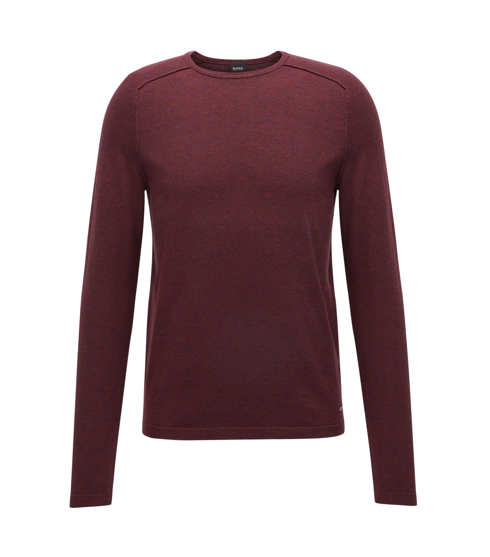Pullover aus gestrickter Baumwolle mit Paspel-Details, Dunkelrot