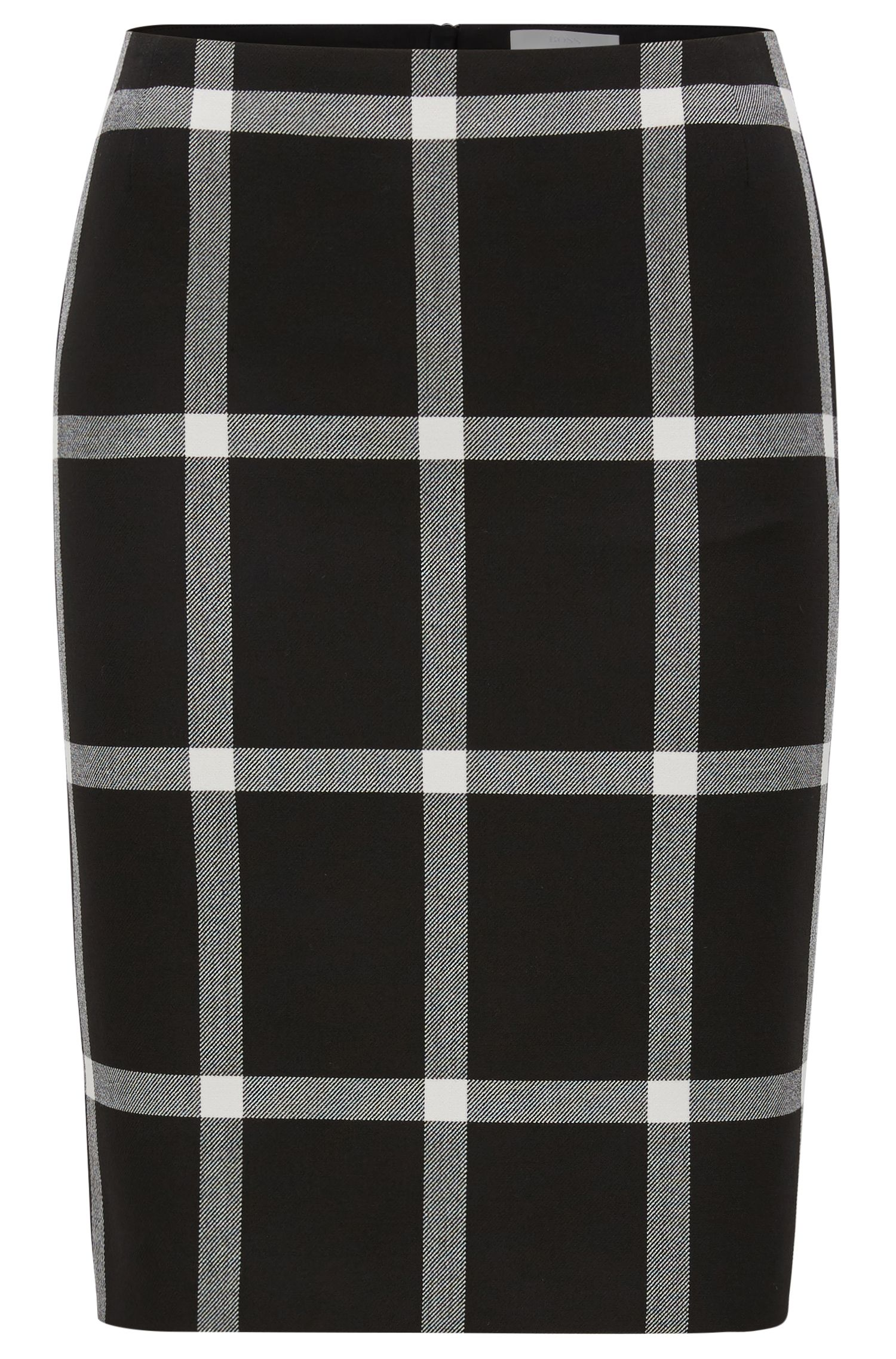 Checked pencil skirt in stretch twill