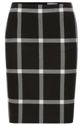 Checked pencil skirt in stretch twill, Patterned