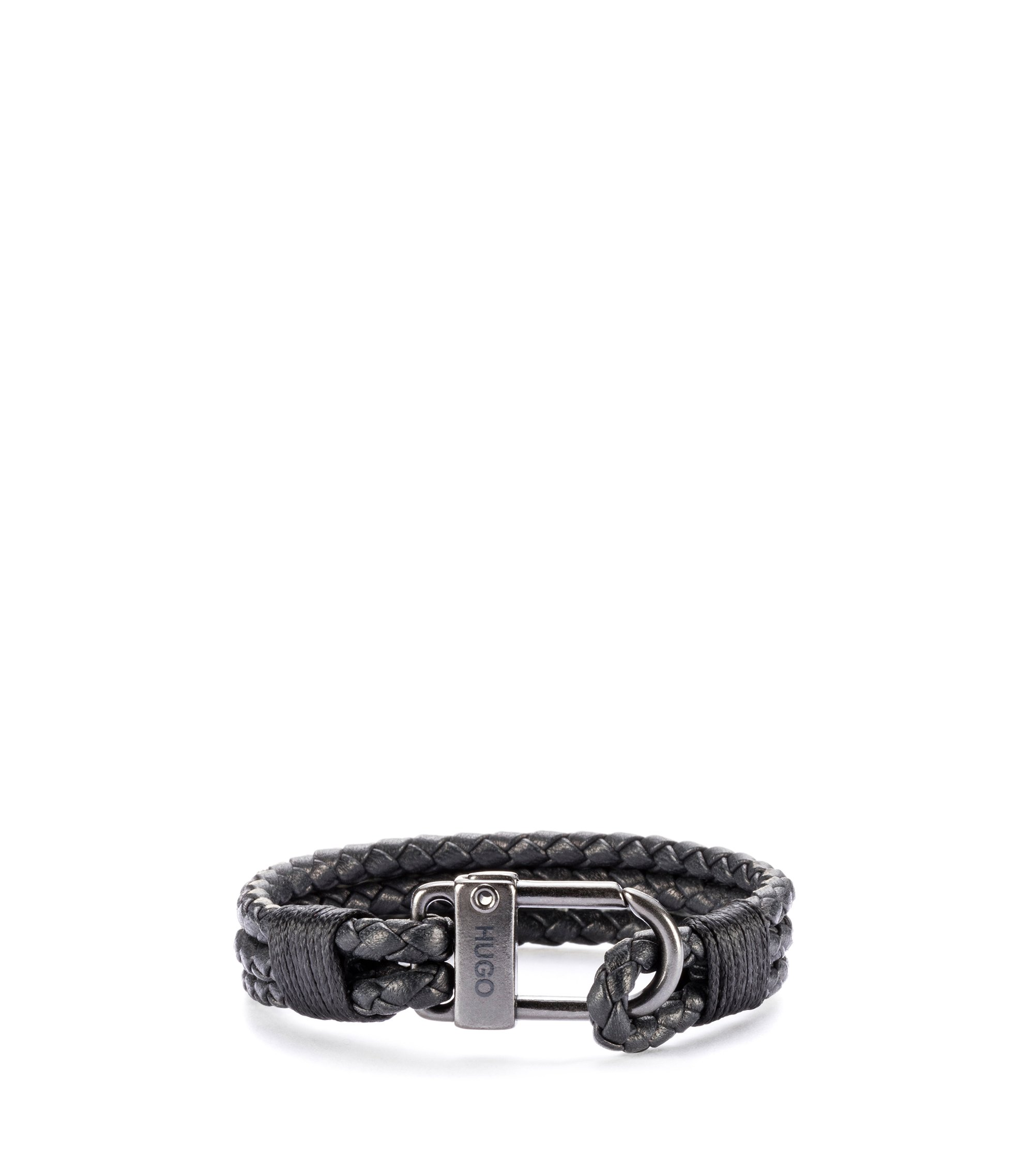 Braided Italian leather bracelet with carabiner fastening, Black