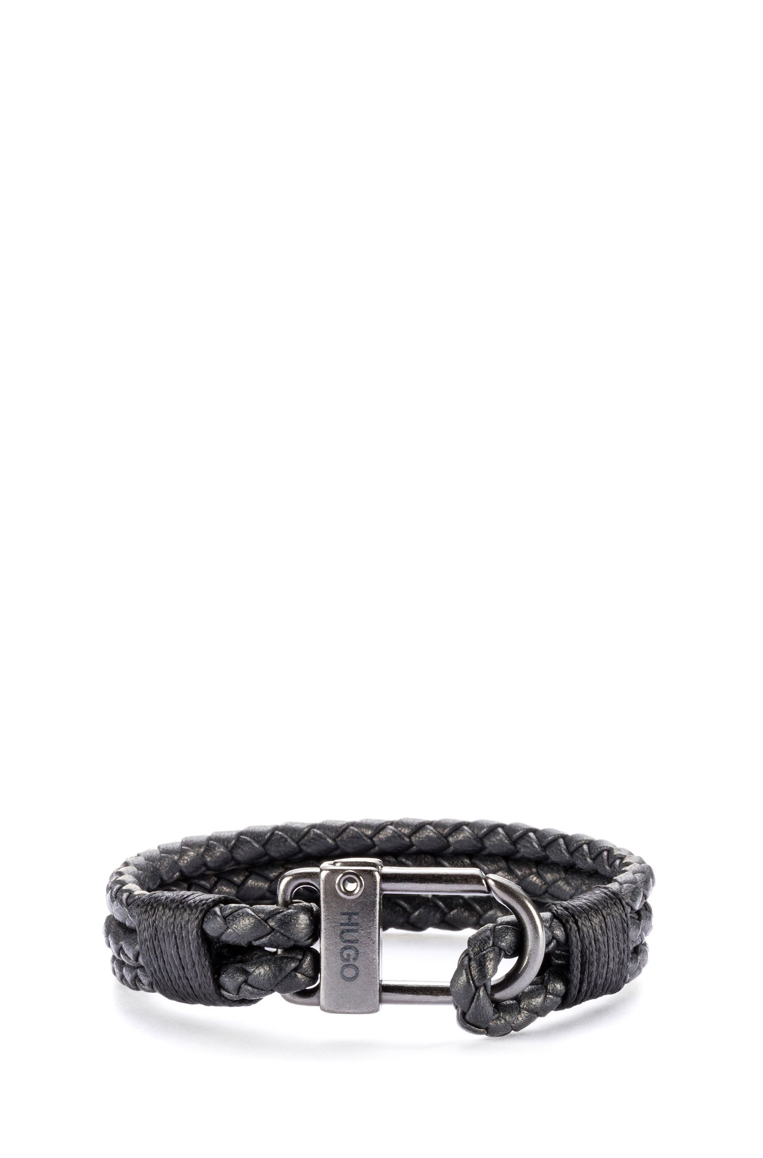 Braided Italian leather bracelet with carabiner fastening