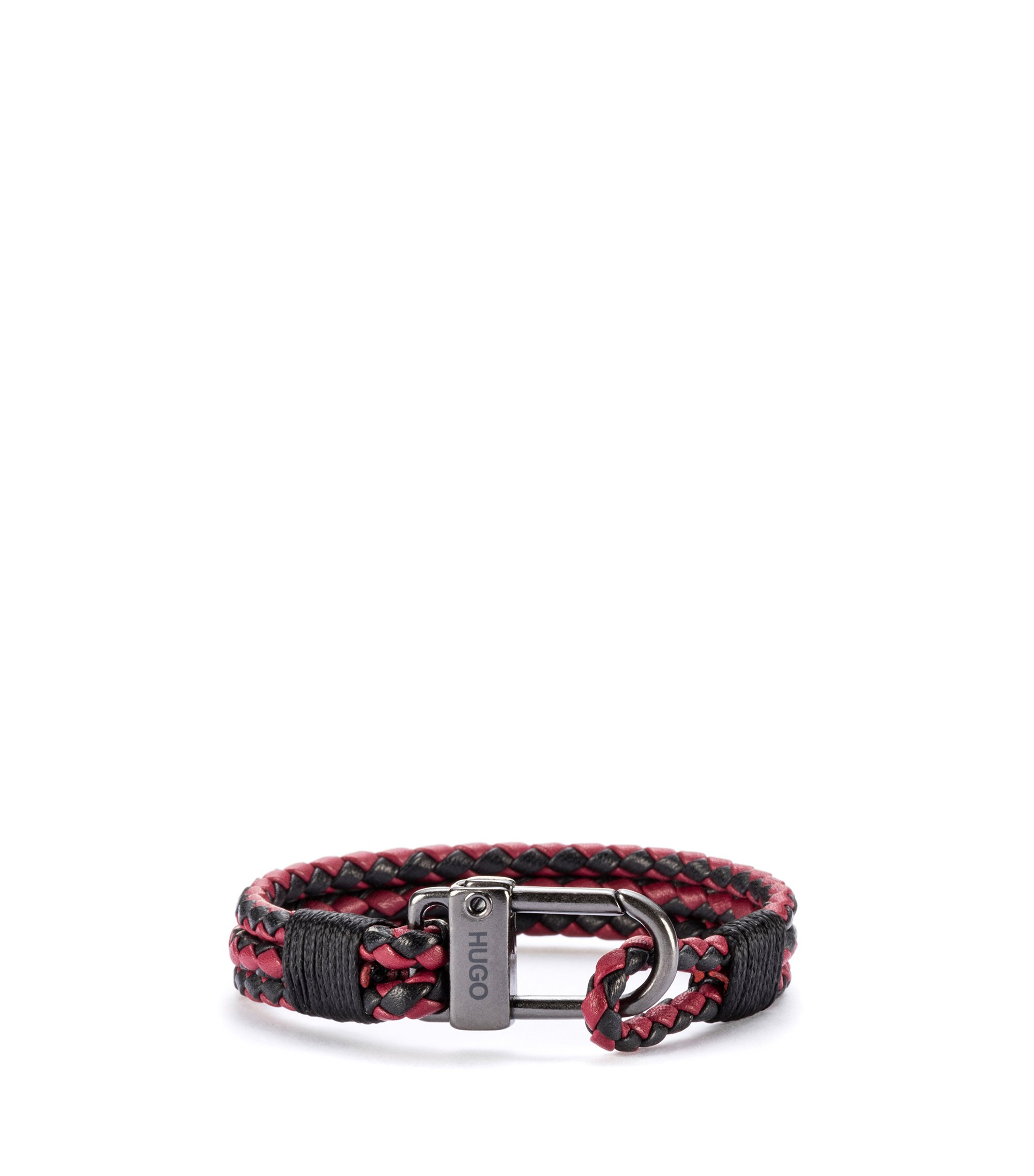 Braided Italian leather bracelet with carabiner fastening, Patterned