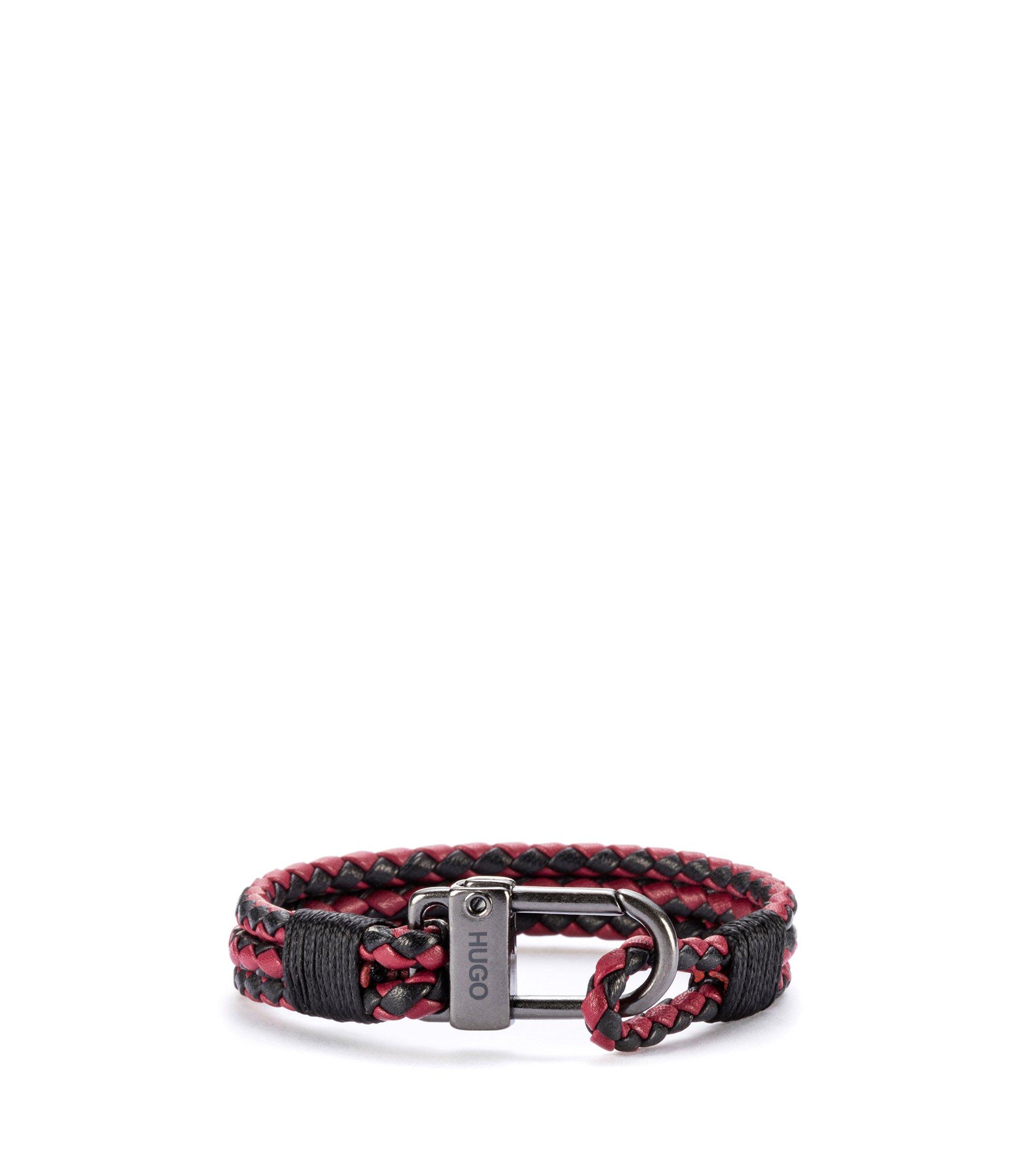 Geflochtenes Armband aus italienischem Leder mit Karabinerverschluss, Gemustert