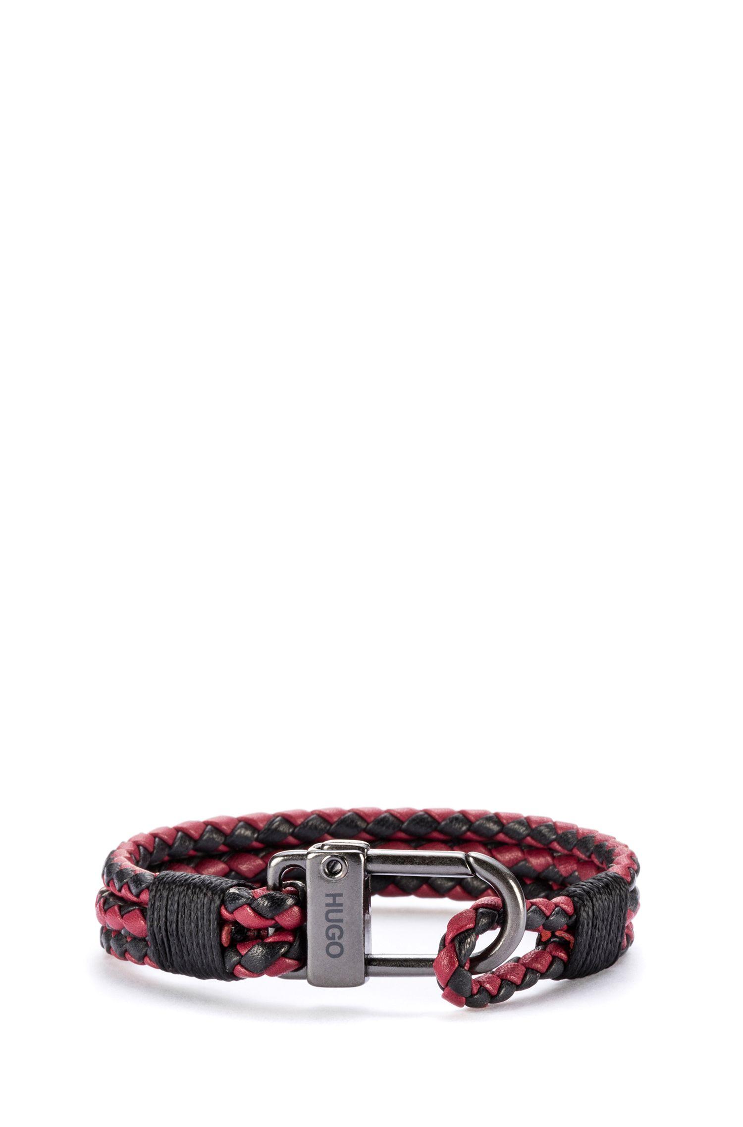 Bracelet tressé en cuir italien avec fermoir mousqueton