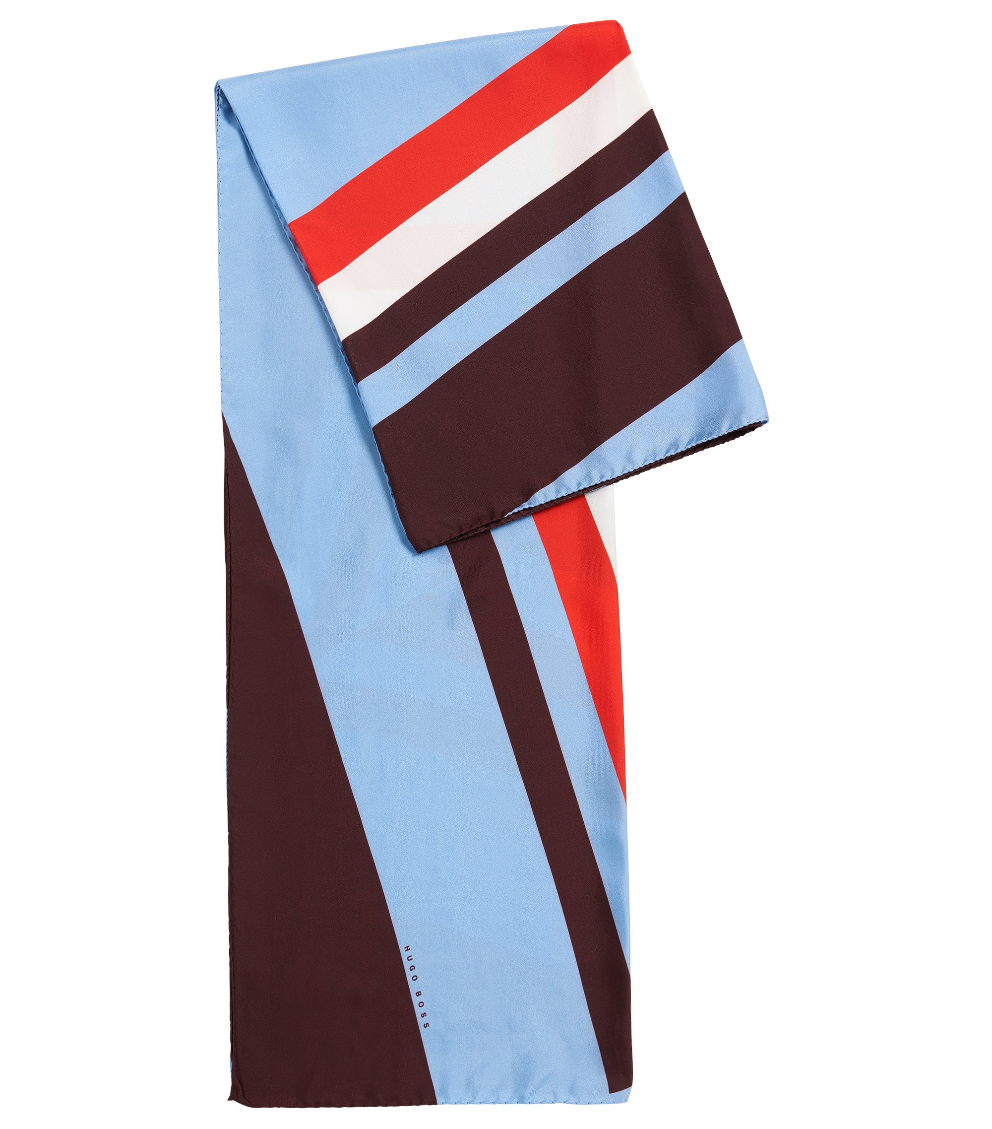 Geometric-printed foulard scarf in pure silk, Patterned