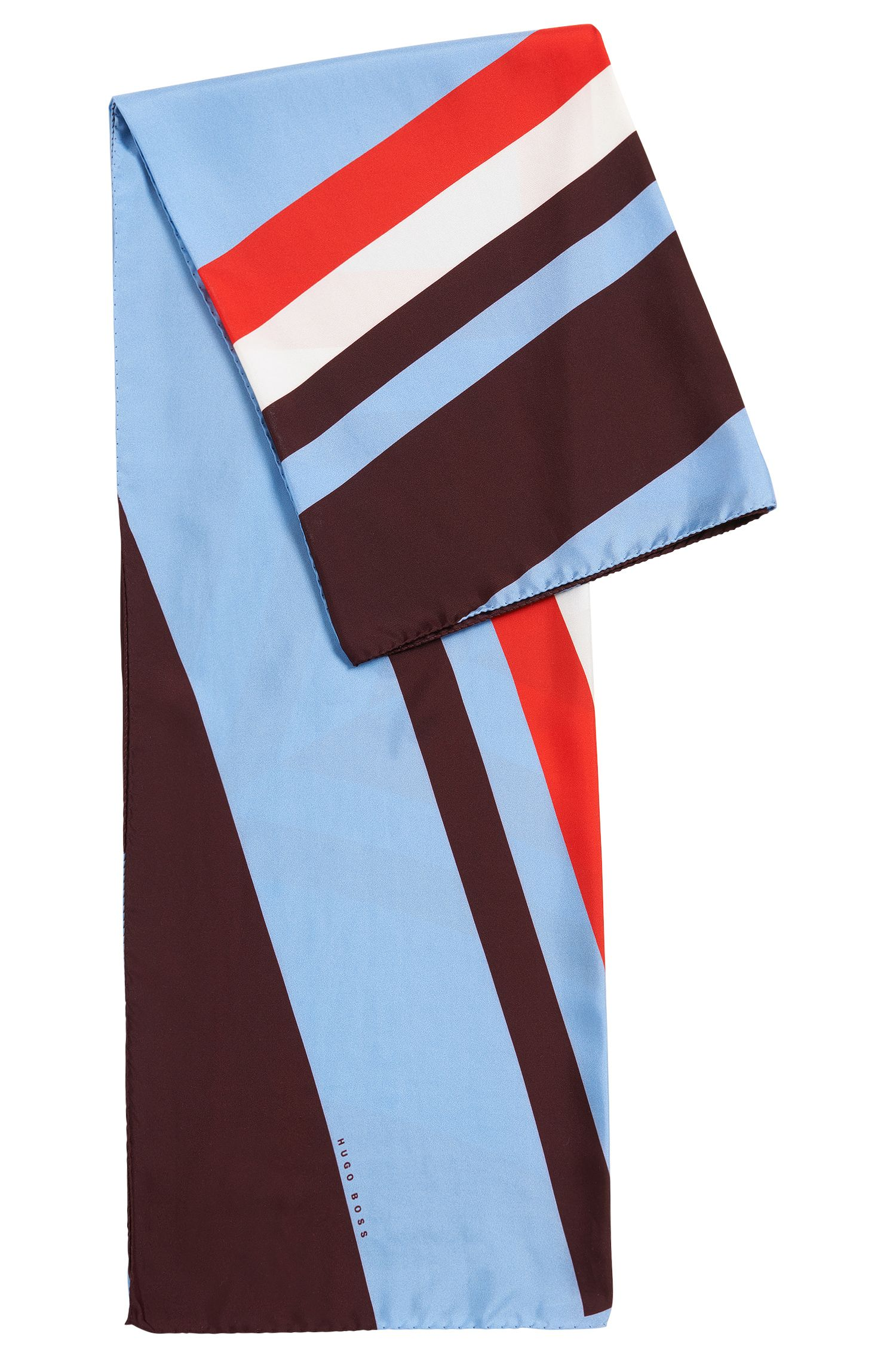 Geometric-printed foulard scarf in pure silk