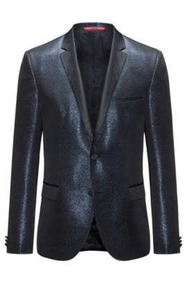 Veste Extra Slim Fit en tissu chiné scintillant, Bleu foncé