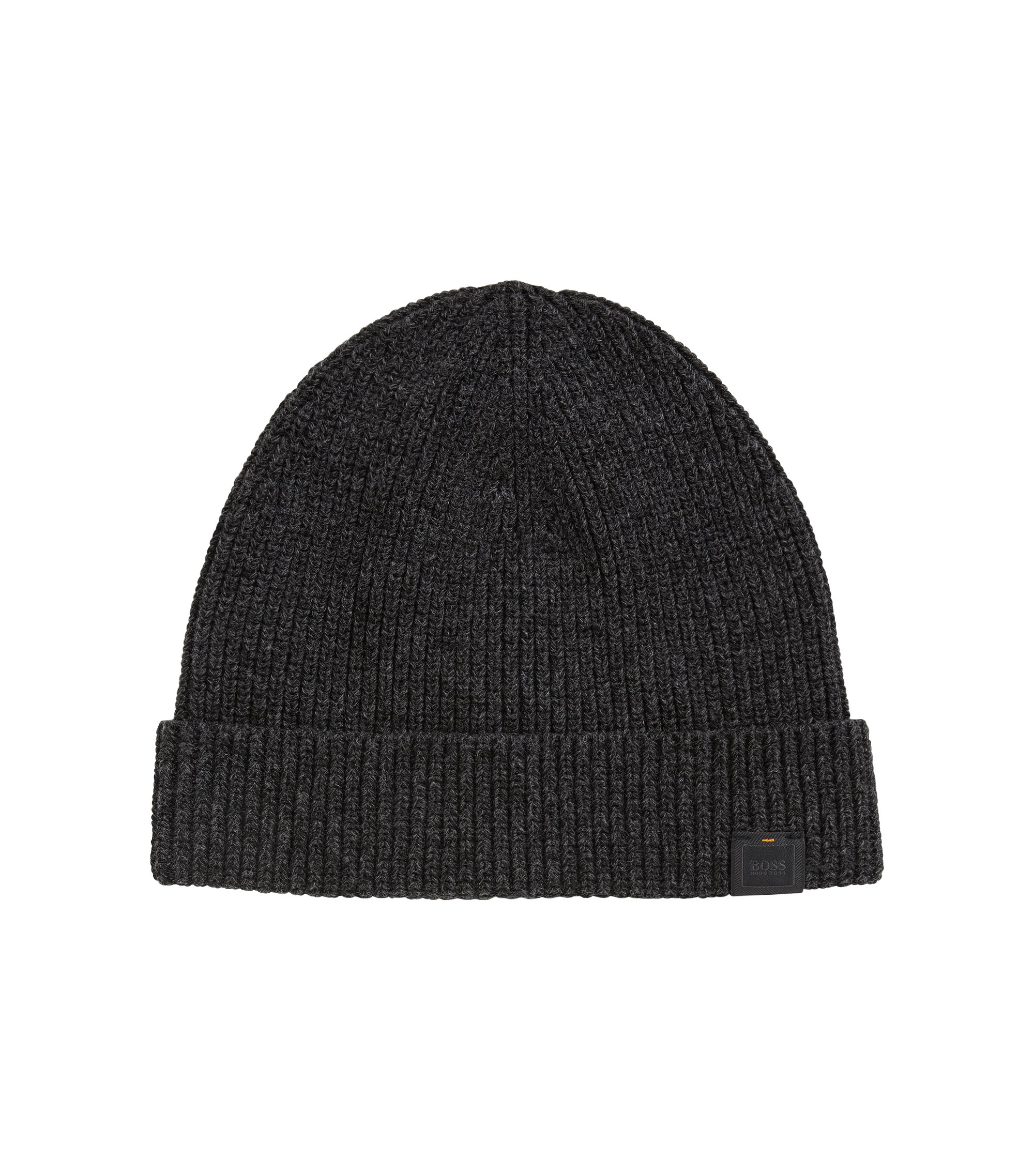 Ribbed beanie in mercerised mouliné cotton, Black