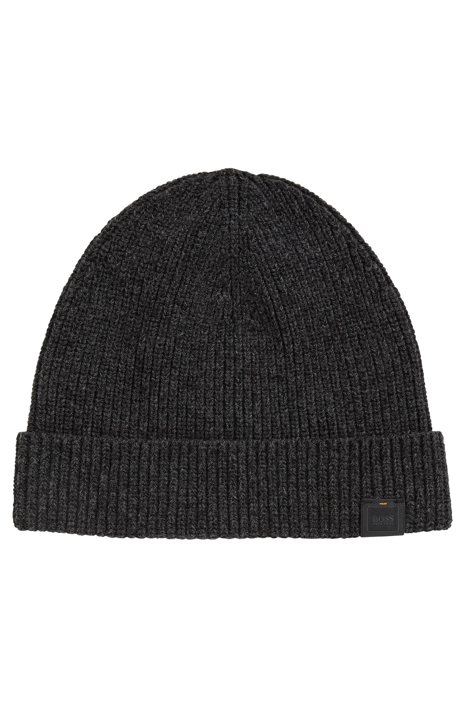 Ribbed beanie in mercerised mouliné cotton