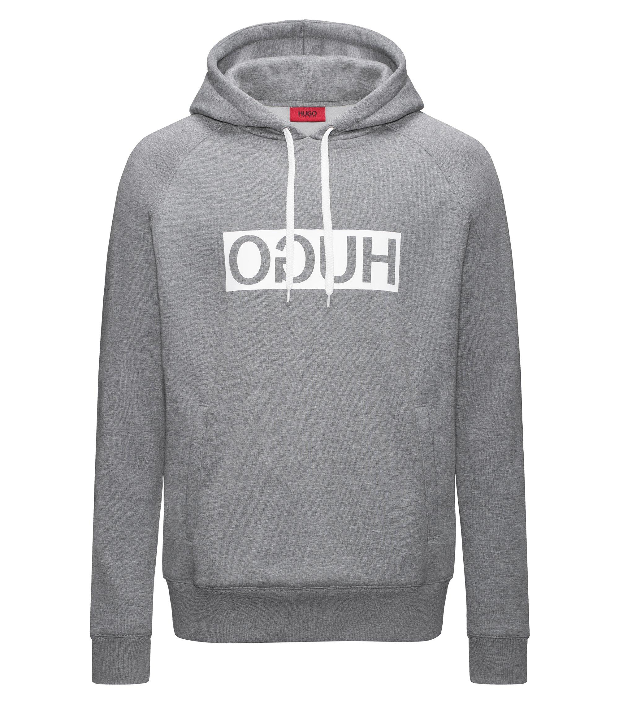 Reverse-logo fleece hoodie, Grey
