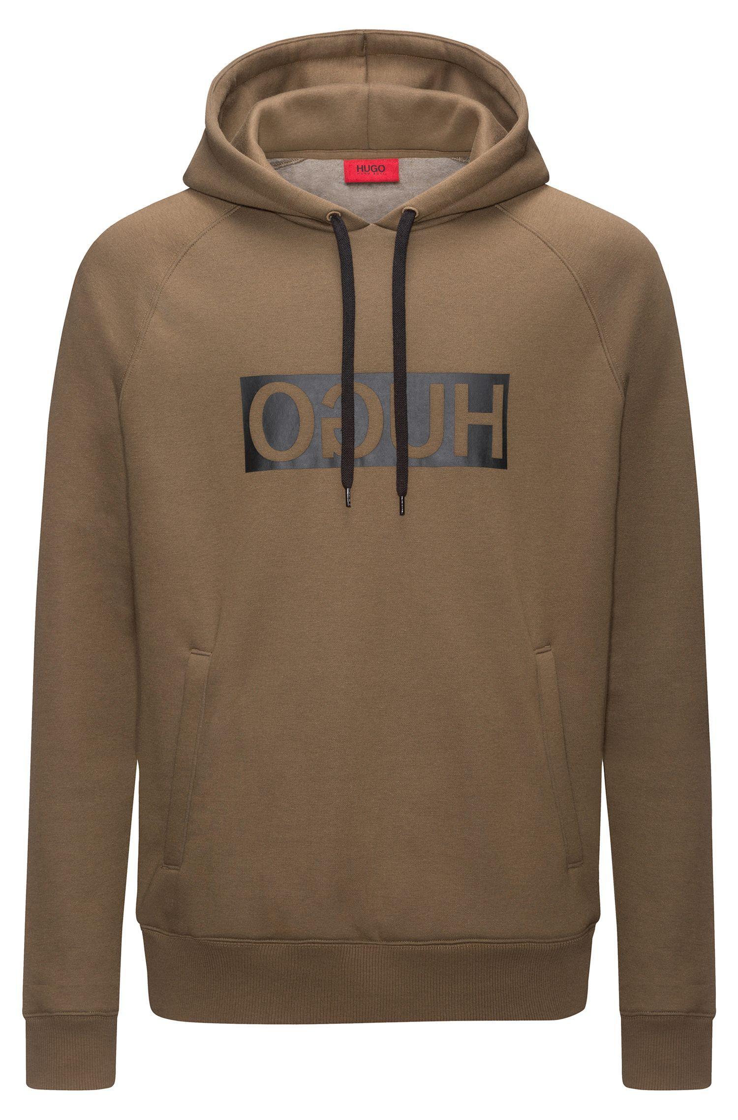 Reverse-logo fleece hoodie