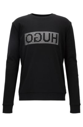 Reverse-logo sweater in interlock cotton, Black