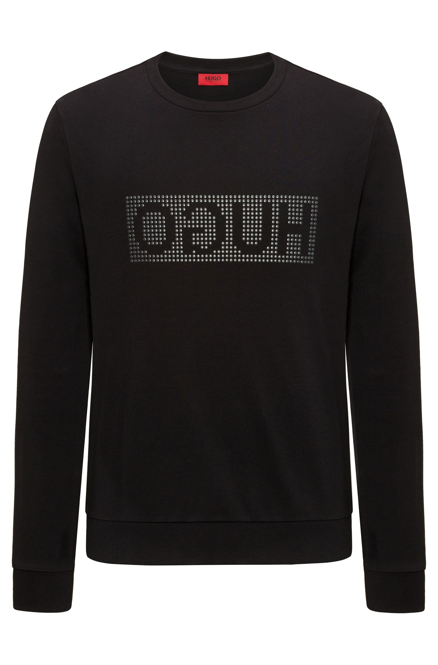 Reverse-logo sweater in interlock cotton