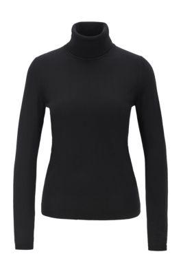 Jersey de cuello alto en lana de merino mercerizada, Negro