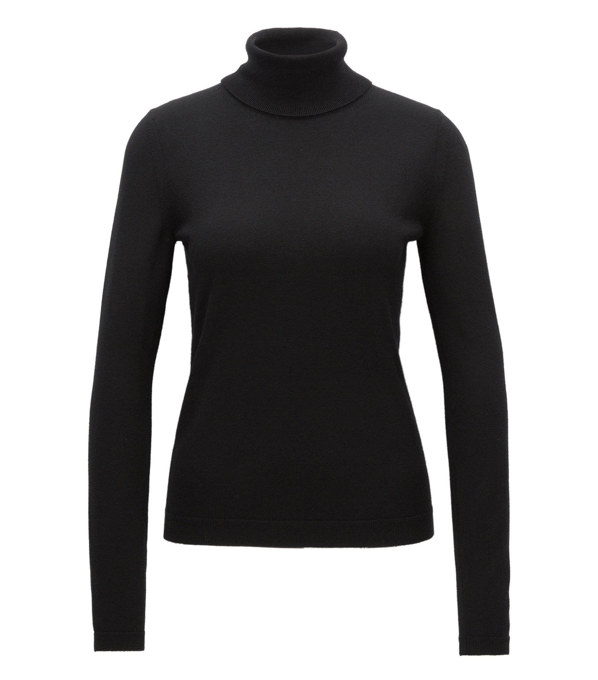 Roll-neck sweater in mercerised Merino wool, Black